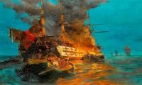 6 ΙΟΥΝΙΟΥ 1822 - Ο ΚΩΝ/ΝΟΣ ΚΑΝΑΡΗΣ ΑΝΑΤΙΝΑΖΕΙ  ΤΗΝ ΝΑΥΑΡΧΙΔΑ ΤΟΥ ΚΑΡΑ ΑΛΗ ΣΤΗΝ ΧΙΟ